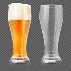 Vector realistic beer glasses, empty mug and full lager glass