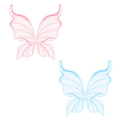 Blue and pink fairy wings