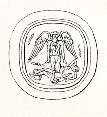 Etruscan glassware - Thanatos and Semele (from Meyers Lexikon, 1895, 7/286-7)