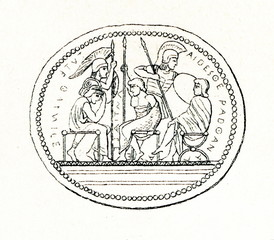 Etruscan engraved gem -  five of Seven Against Thebes (from Meyers Lexikon, 1895, 7/286-7)