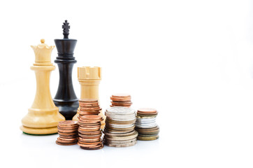Stack coins and chess. Income and profits. Marketing strategy.