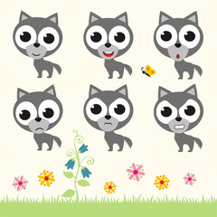 Vector set cute wolf. Collection isolated funny wolf. Emotion little wolf.