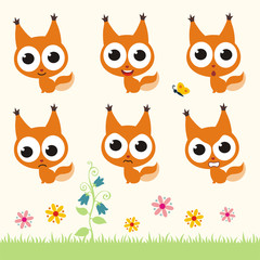 Vector set cute squirrel. Collection isolated funny squirrel. Emotion little squirrel.