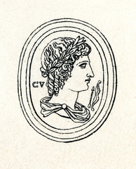 Carnelian engraving of Apollo by Jacques Guay (from Meyers Lexikon, 1895, 7/286-7)