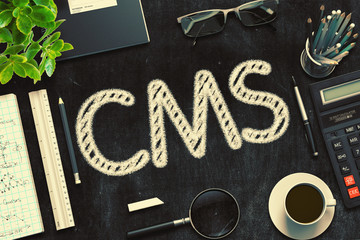 CMS - Text on Black Chalkboard. 3D Rendering.