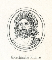Zeus after his victory over the giants - ancient Greek carved gem (from Meyers Lexikon, 1895, 7/286-7)