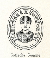 Alaric I - Gothic carved sapphire (from Meyers Lexikon, 1895, 7/286-7)