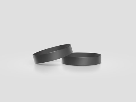 Blank black rubber wristband mockup, clipping path, 3d illustration. Clear sweat band stack mock up design. Sport sweatband pile template. Silicone fashion round social bracelet. Unity band.