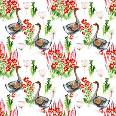 goose, flowers, watercolor, seamless pattern,