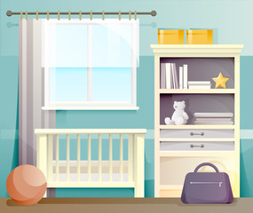 Interior of blue baby room