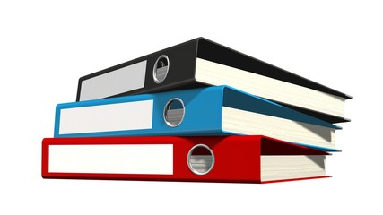 three File folders or ring binders full with office documents
