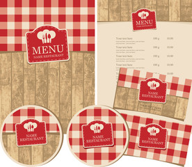 set of design elements for a cafe or restaurant with the texture of wooden planks and tablecloths