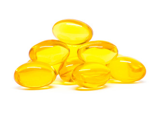 Omega 3 capsules for dieting concept on white background