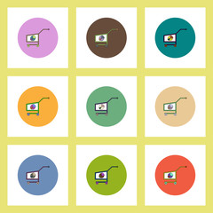 flat icons set of Business pie chart on trolley concept on colorful circles