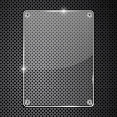 Transparent glass plate on metal perforated background