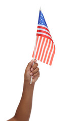 Boy hand holding American flag, isolated on white