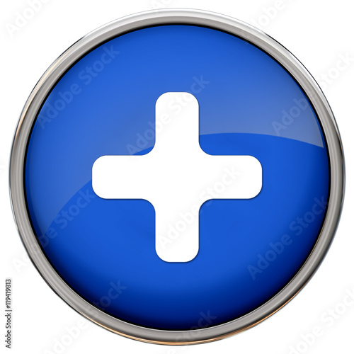 quotplus sign icon blue glossy metallic button quot stock photo