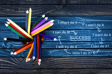 Success text painted and group of pencils