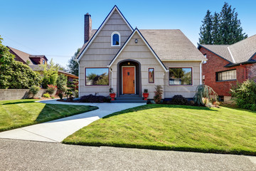 Small craftsman one-story exterior with wood siding. Wall mural
