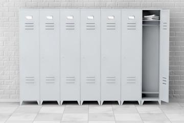 Grey Metal Lockers. 3d Rendering
