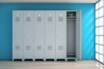Grey Metal Lockers. 3d Rendering