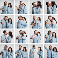 The collage from images of couple on gray background