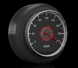 Speedometer in Car Wheel Tyre. 3d Rendering
