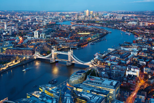 Aerial view of city, London, England, UK
