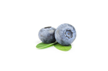 Two blueberries isolated on white background