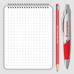 Blank realistic spiral notepad notebook, pen and pencil isolated on white vector. Display Mock up for corporate identity and promotion objects.
