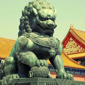 Bronze lion in Forbidden city(Beijing, China)