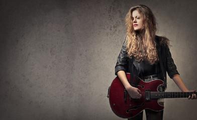 Rocker playing the guitar