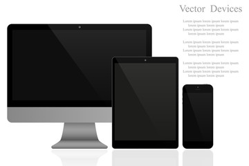 Set of realistic computer monitors, tablets and mobile phones. Electronic gadgets on white background