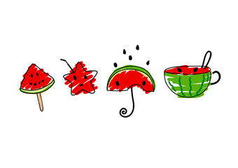 Vector cute watermelon design on white background
