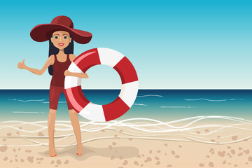 Girl with lifebuoy on the beach, vector illustration