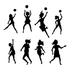 Volleybal actie - silhouette