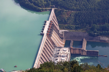 Wall Murals Dam hydroelectric power plant on river