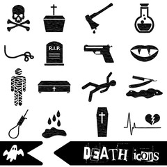 death theme set of vector black simple icons eps10