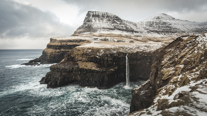 Faroe Islands Coast Waterfall