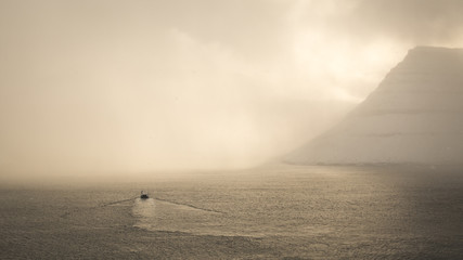 Faroe Islands Boat in the mist