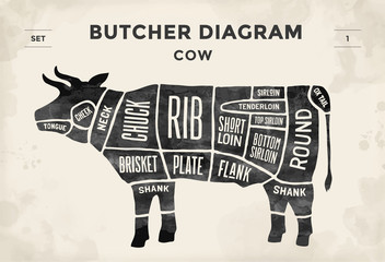 Cut of meat set. Poster Butcher diagram and scheme - Cow. Vintage typographic hand-drawn. Illustration.