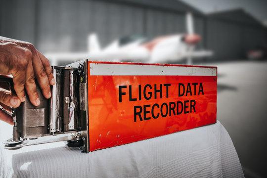 Flight data recorder from a plane. Black box.
