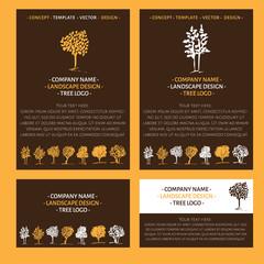 Trees logo set. Landscape logo design concept. Fall colors. Hand drawn trees. Autumn design concept.