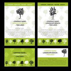 Trees logo set. Landscape logo design concept. Fall colors. Hand drawn trees. Summer design concept.