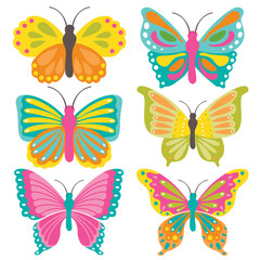 Cute butterfly collection with colorful