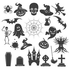 Halloween black icons. Vector creepy spooky signs. Bats and skeleton, owl and ghost silhouettes