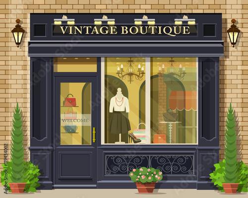 Vector Detailed Flat Design Vintage Boutique Facade Cool Graphic Fashion Shop Exterior