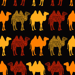Seamless pattern with abstract camel. Vector illustration