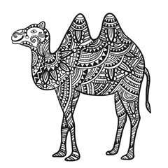 Decorative camel with an ornament. Vector illustration