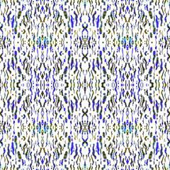 Seamless ethnic kaleidoscope pattern. Beautiful watercolor geometric print, faux ikat, lilac and green tones on white background.